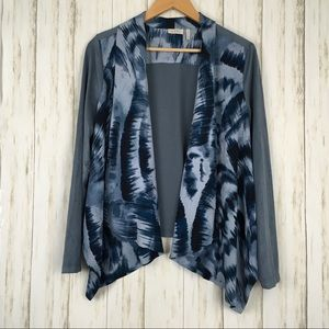 LOGO Draped Printed Faux Suede Sleeve Cardigan